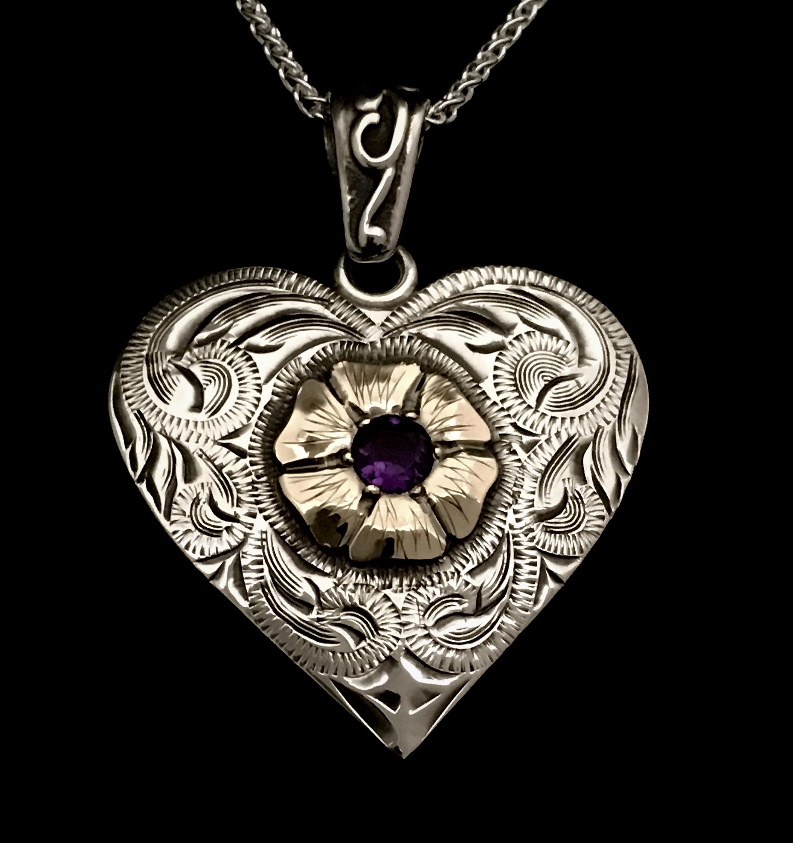 Custom western silver sb western silver knives custom silver sb custom heart silver gold pendant aloadofball Choice Image